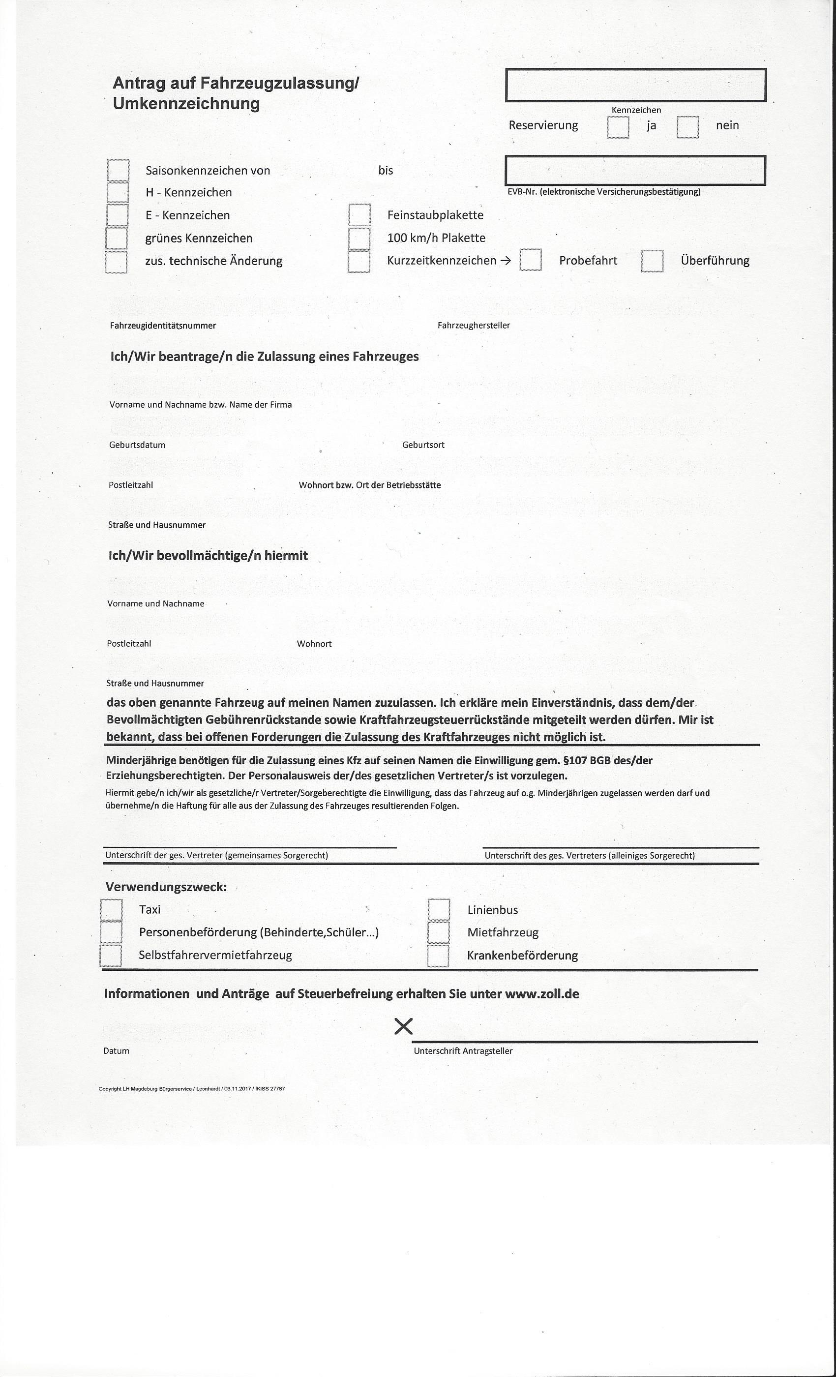 Kfz Zulassungsdienst Magdeburg Vollmacht